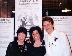 Opening of the Human Rights and the Drug War exhibit, with Mikki and our late partner, Virginia Resner, 1995